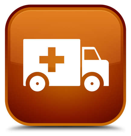 Ambulance icon isolated on special brown square button abstract illustration Stock Photo