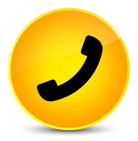 Phone icon isolated on elegant yellow round button abstract illustration Stock Photo