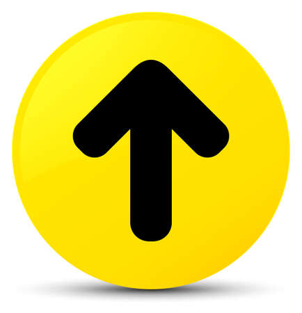 Upload arrow icon isolated on yellow round button abstract illustration