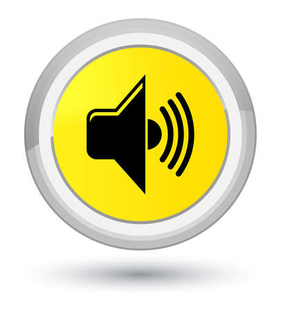 Volume icon isolated on prime yellow round button abstract illustration