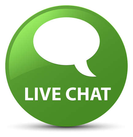 Live chat isolated on soft green round button abstract illustration Stock Photo