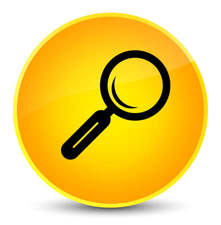 Magnifying glass icon isolated on elegant yellow round button abstract illustration