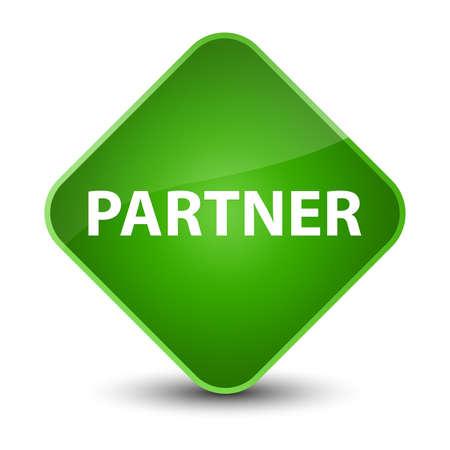 Partner isolated on elegant green diamond button abstract illustration