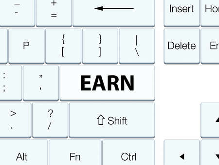 Earn isolated on white keyboard button abstract illustration