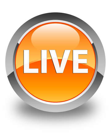 Live isolated on glossy orange round button abstract illustration Stock Photo