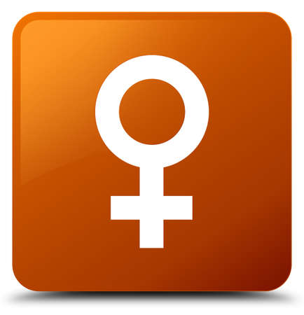 Female sign icon isolated on brown square button abstract illustration Foto de archivo