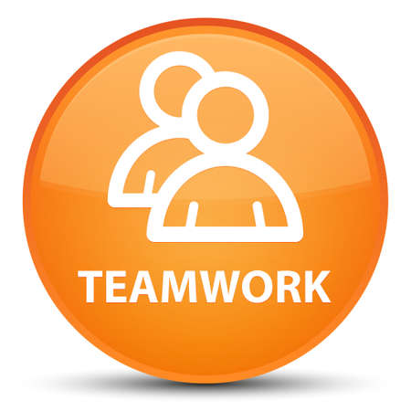 Teamwork (group icon) isolated on special orange round button abstract illustration Stock Photo