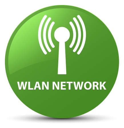 Wlan network isolated on soft green round button abstract illustration