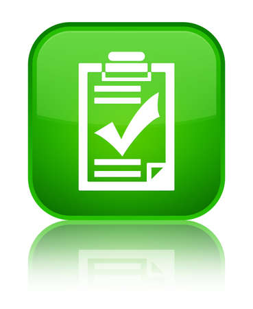 Checklist icon isolated on special green square button reflected abstract illustration Stock Photo
