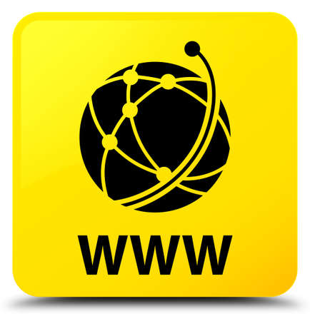 WWW (global network icon) isolated on yellow square button abstract illustration