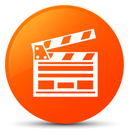 Cinema clip icon isolated on orange round button abstract illustration Stock Photo
