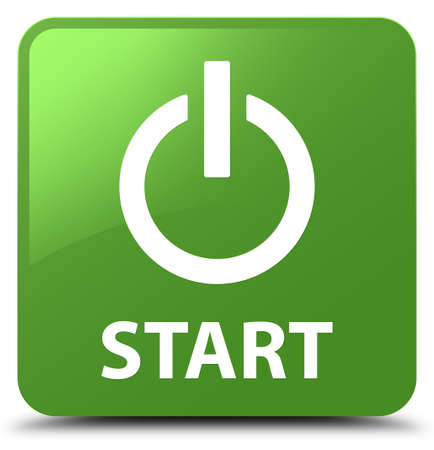start button: Start (power icon) isolated on soft green square button abstract illustration
