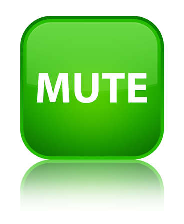 Mute isolated on special green square button reflected abstract illustration
