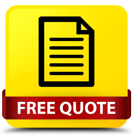 Free quote (page icon) isolated on yellow square button with red ribbon in middle abstract illustration Stock Photo
