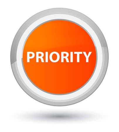 Priority isolated on prime orange round button abstract illustration