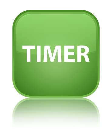 Timer isolated on special soft green square button reflected abstract illustration Stock Photo
