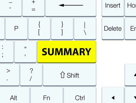 Summary isolated on yellow keyboard button abstract illustration