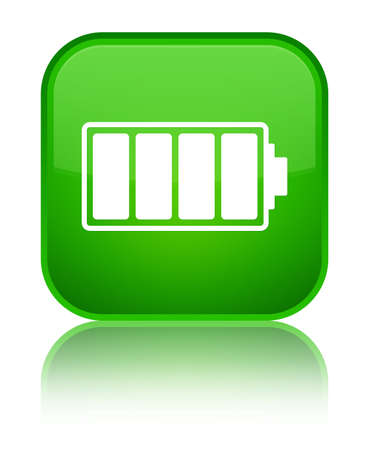 Battery icon isolated on special green square button reflected abstract illustration
