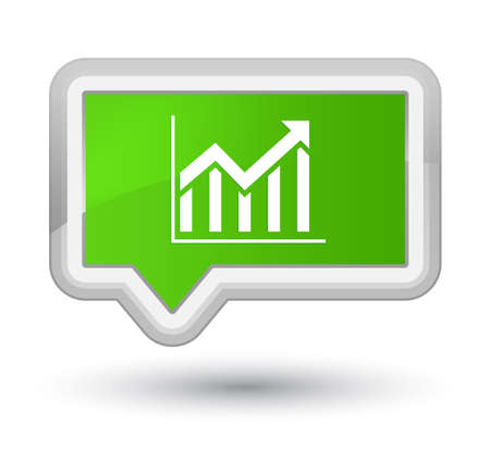 Statistics icon isolated on prime soft green banner button abstract illustration