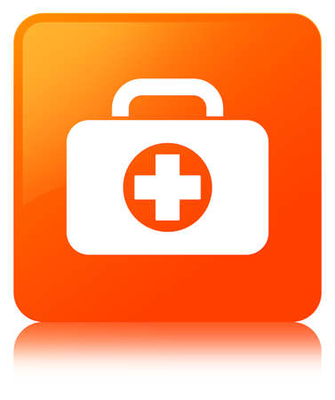 First aid kit bag icon isolated on orange square button reflected abstract illustration