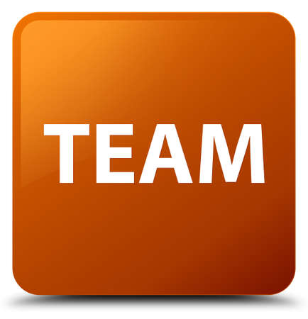 troupe: Team isolated on brown square button abstract illustration