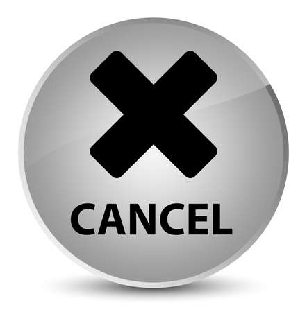Cancel isolated on elegant white round button abstract illustration