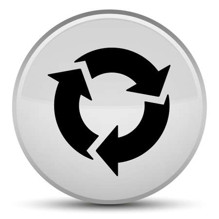 Refresh icon isolated on special white round button abstract illustration