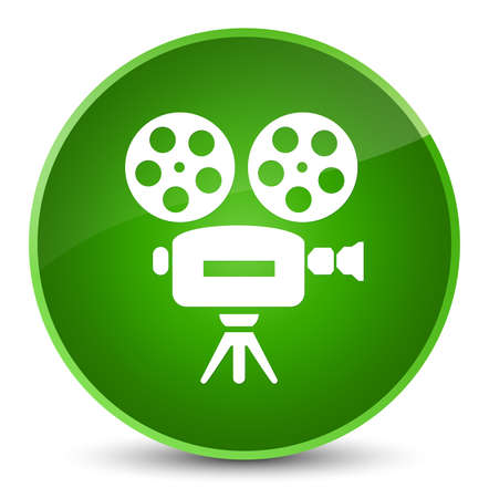 Video camera icon isolated on elegant green round button abstract illustration