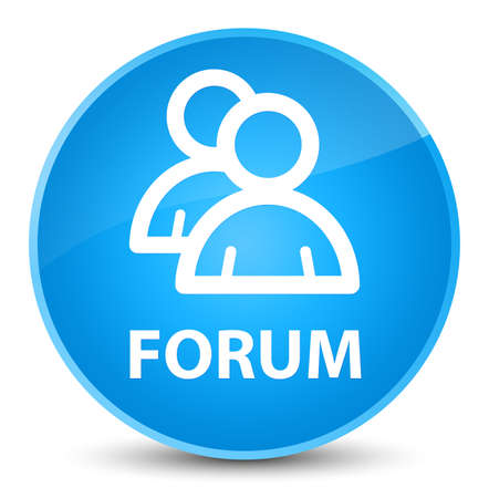 Forum (group icon) isolated on elegant cyan blue round button abstract illustration Stock Photo