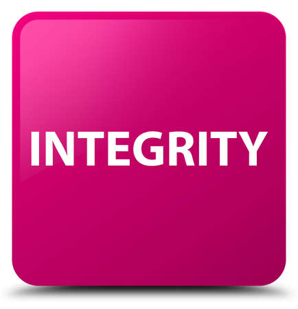 Integrity isolated on pink square button abstract illustration