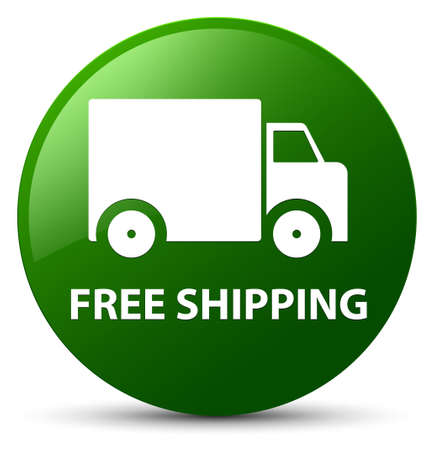 Free shipping isolated on green round button abstract illustration Stock Photo
