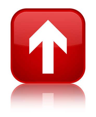 アップロード特別な赤い四角ボタンで分離した矢印アイコン反映の抽象的なイラスト 写真素材