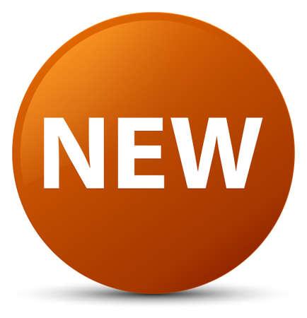 Neu lokalisiert auf brauner runder Knopfzusammenfassungsillustration