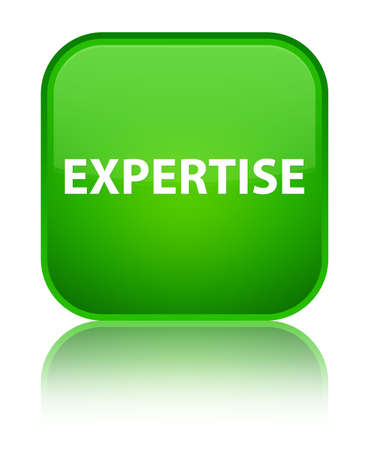 Expertise isolated on special green square button reflected abstract illustration