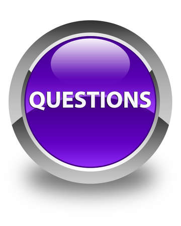 Questions isolated on glossy purple round button abstract illustration Фото со стока