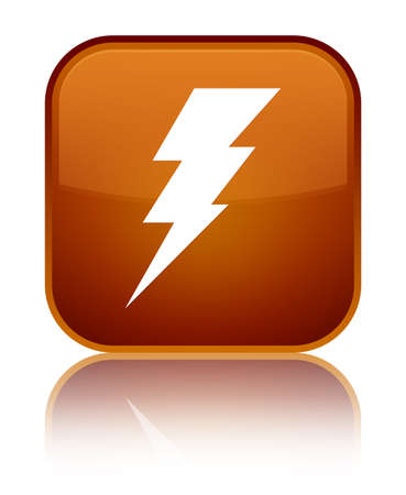Electricity icon isolated on special brown square button reflected abstract illustration Stock Photo