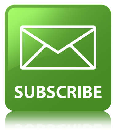 Subscribe (email icon) isolated on soft green square button reflected abstract illustration Stock Photo