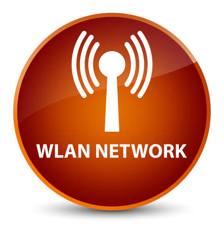 Wlan réseau isolé sur élégant bouton rond brun illustration vectorielle Banque d'images - 89211361