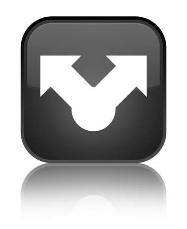 Share icon isolated on special black square button reflected abstract illustration