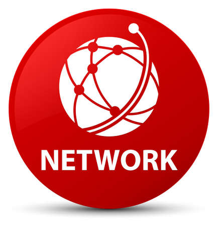 Network (global network icon) isolated on red round button abstract illustration