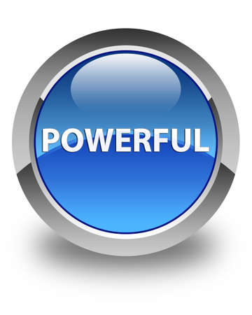 Powerful isolated on glossy blue round button abstract illustration
