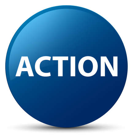 Action isolated on blue round button abstract illustration