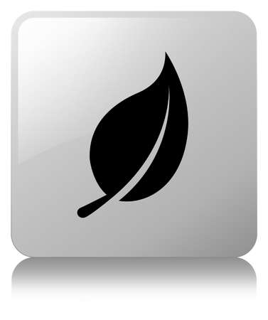 Leaf icon isolated on white square button reflected abstract illustration Фото со стока