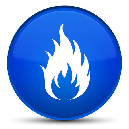 Fire icon isolated on special blue round button abstract illustration