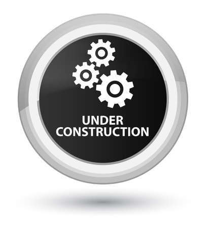Under construction (gears icon) isolated on prime black round button abstract illustration 版權商用圖片