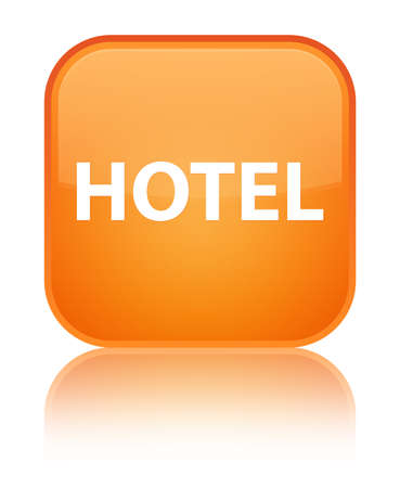Hotel isolated on special orange square button reflected abstract illustration