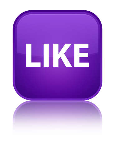 Like isolated on special purple square button reflected abstract illustration Stock Photo