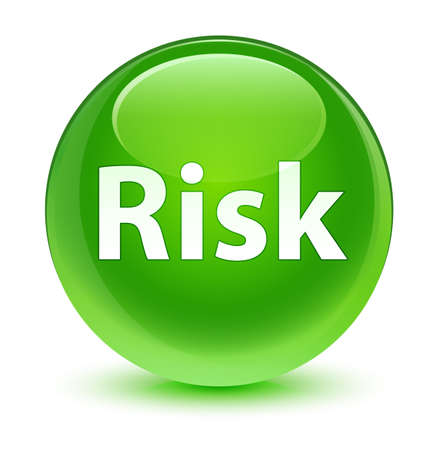 Risk isolated on glassy green round button abstract illustration