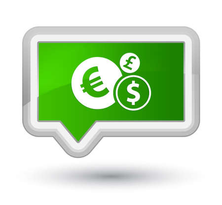 Finances icon isolated on prime green banner button abstract illustration