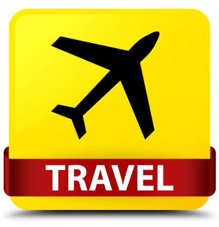 Travel (plane icon) isolated on yellow square button with red ribbon in middle abstract illustration